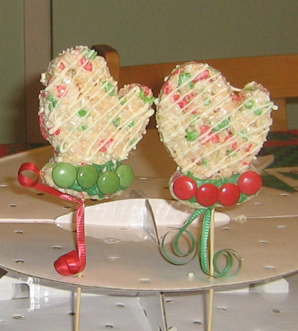 Christmas Mittens Rice Krispie Treats