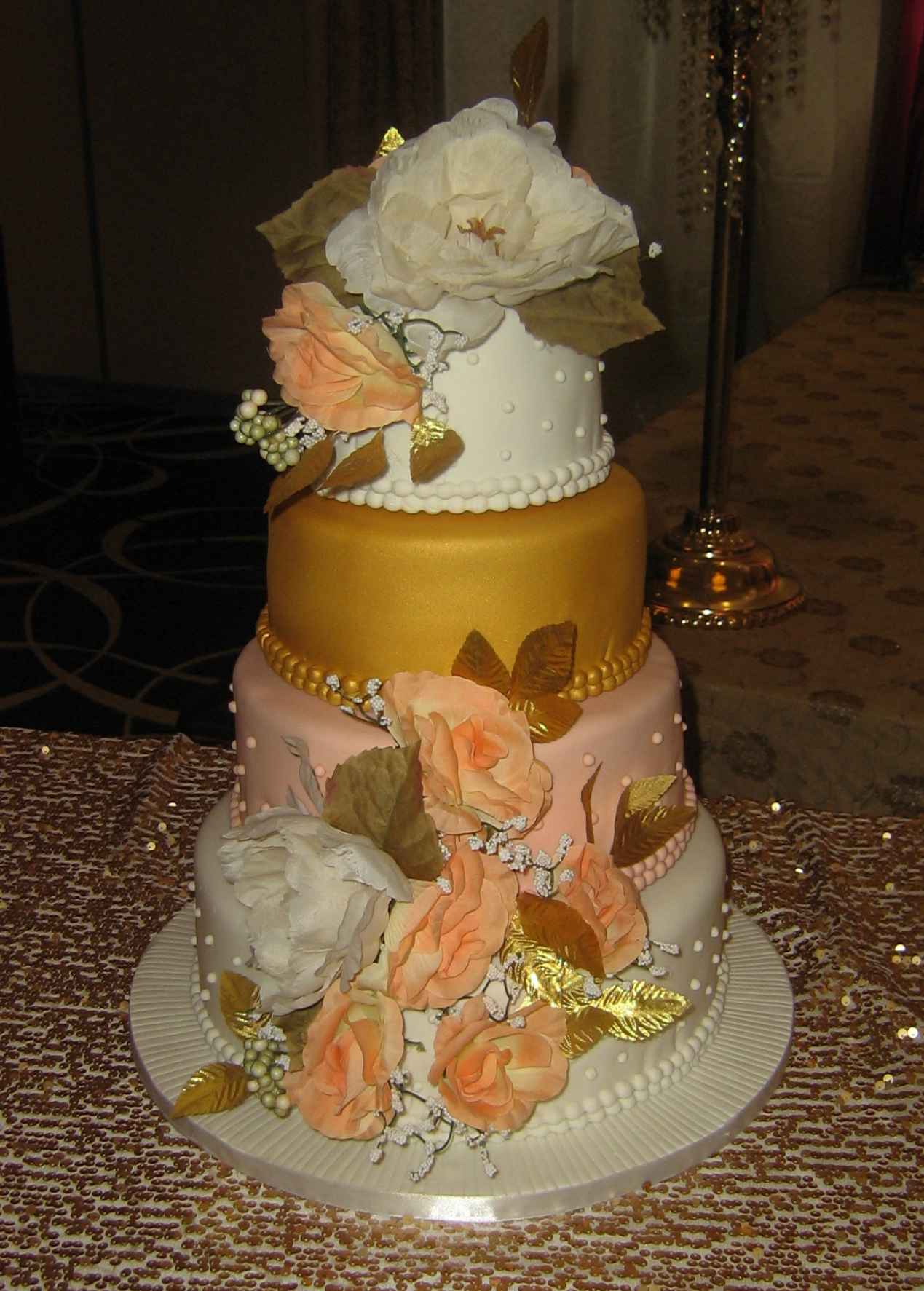 Gold and Peach Wedding Reception Cake